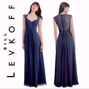 Bill Levkoff Navy Blue Lace Evening Gown